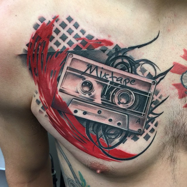 Abstract Trash Polka Mixtape Tattoo by David Mushaney