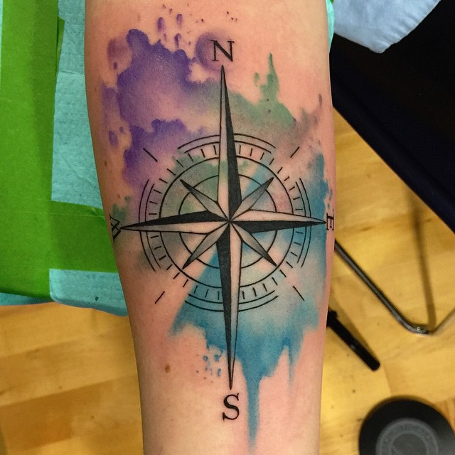 Watercolor Compass Tattoo by David Mushaney