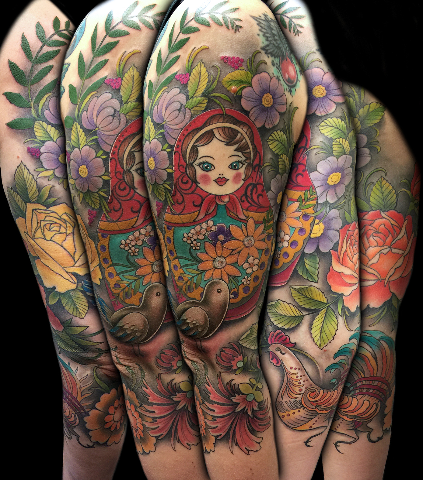 Russian Folk Art 3/4 Sleeve
