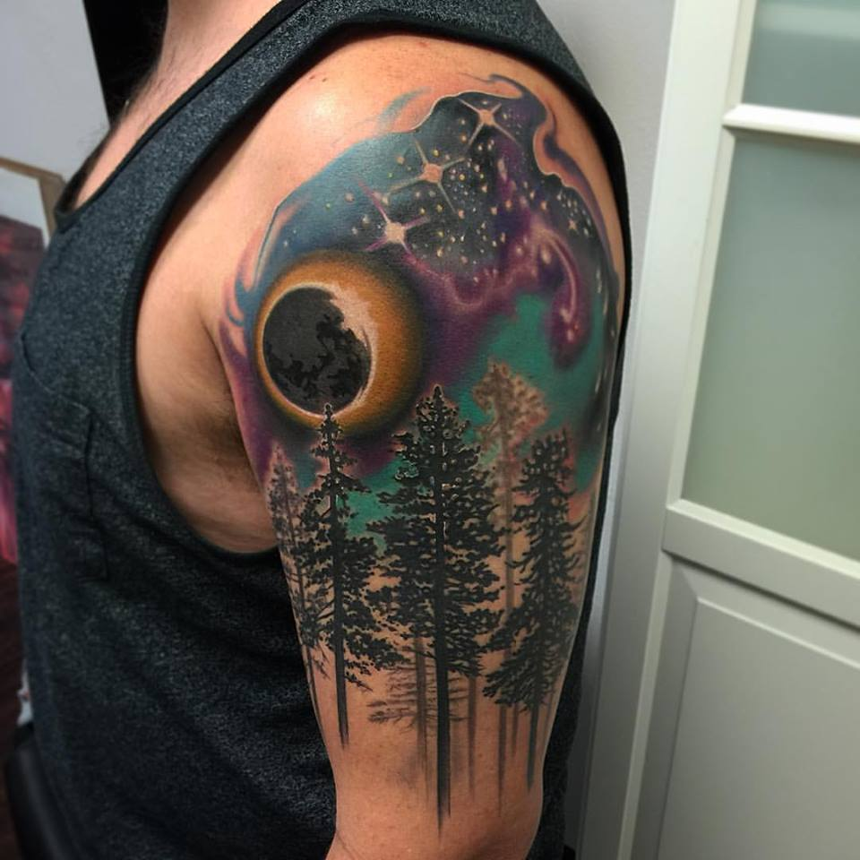 Eclipse and Trees Tattoo by David Mushaney