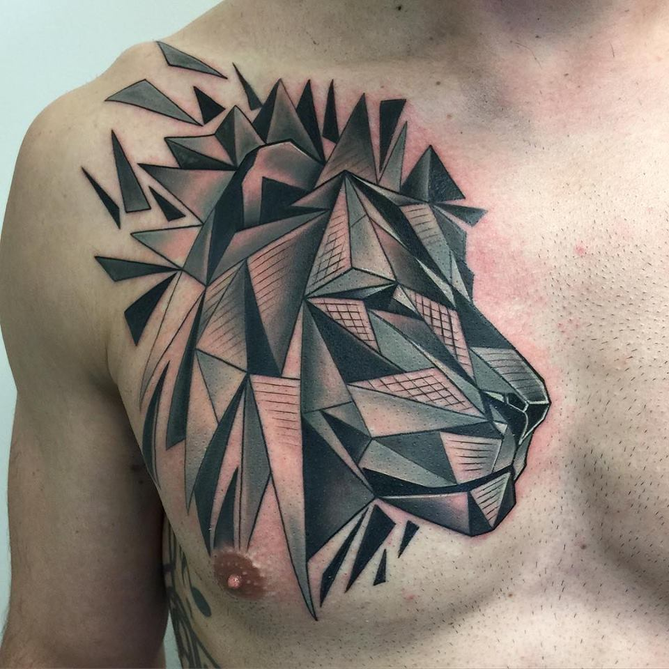 Abstract Lion Chest Tattoo by David Mushaney
