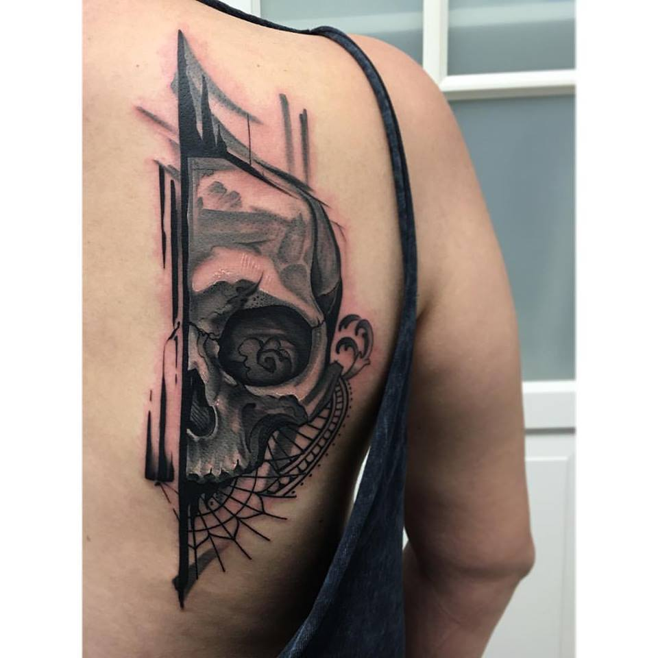Abstract Skull Tattoo by David Mushaney