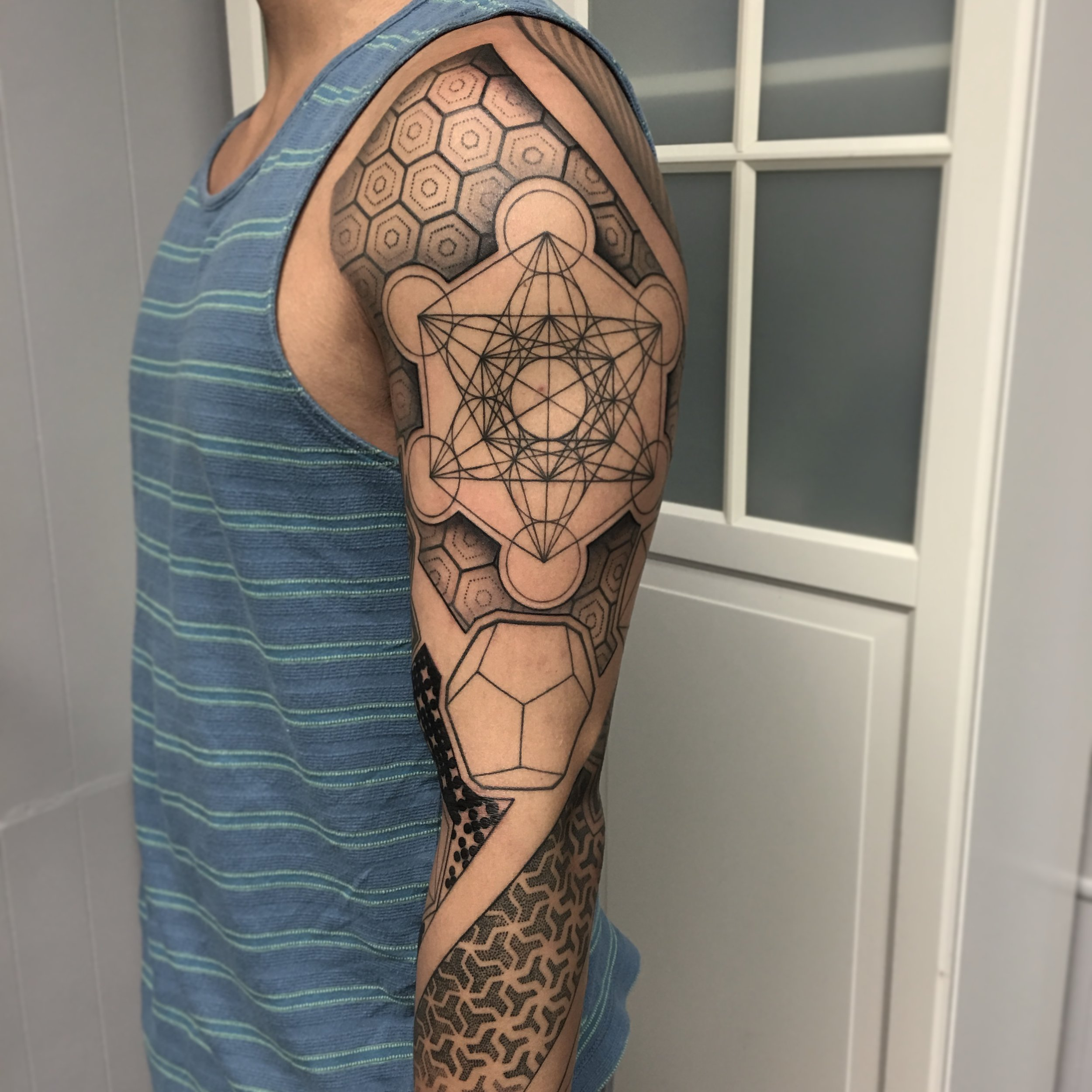 Geometric Full Sleeve Tattoo by David Mushaney
