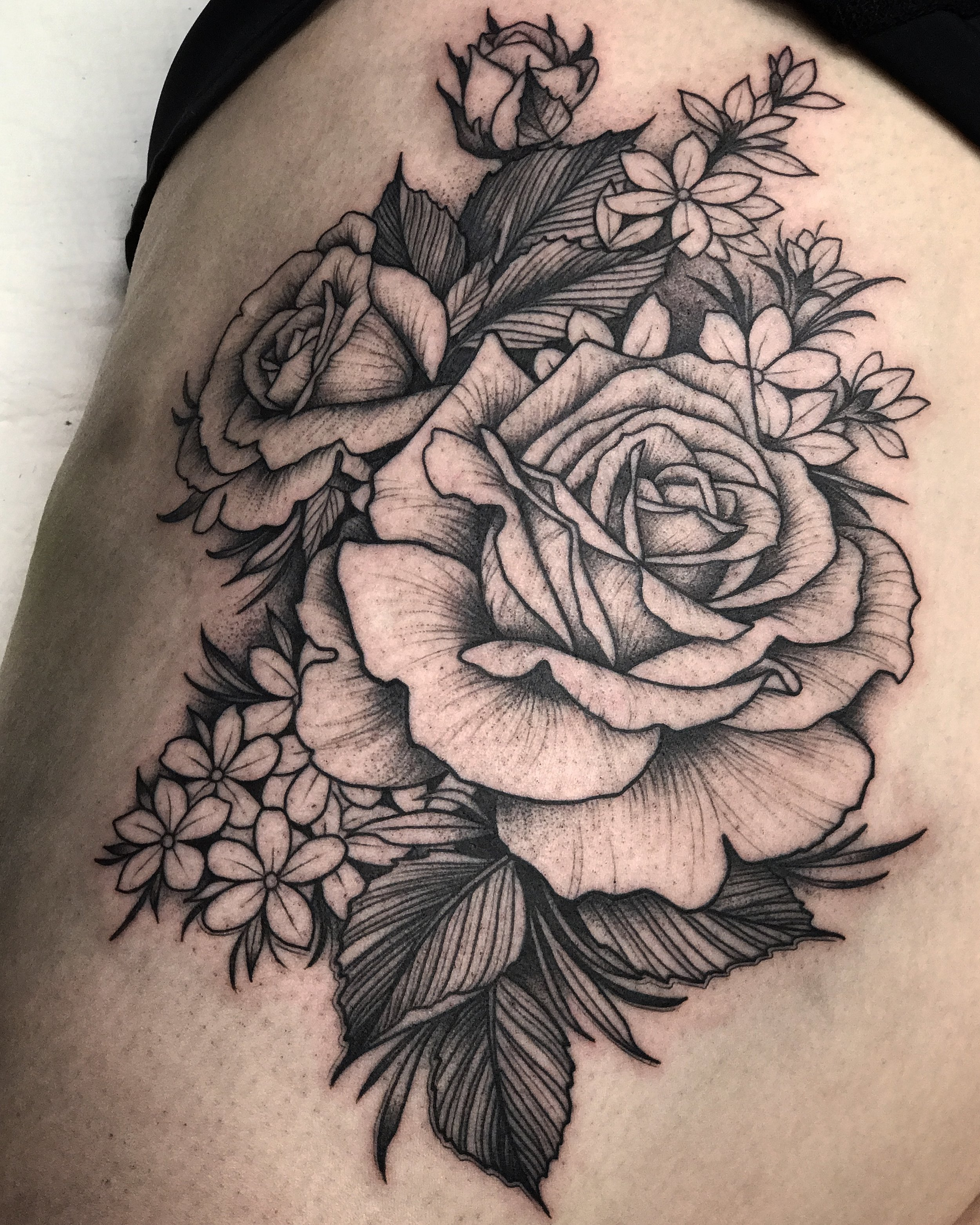 Blackwork Floral Tattoo by David Mushaney
