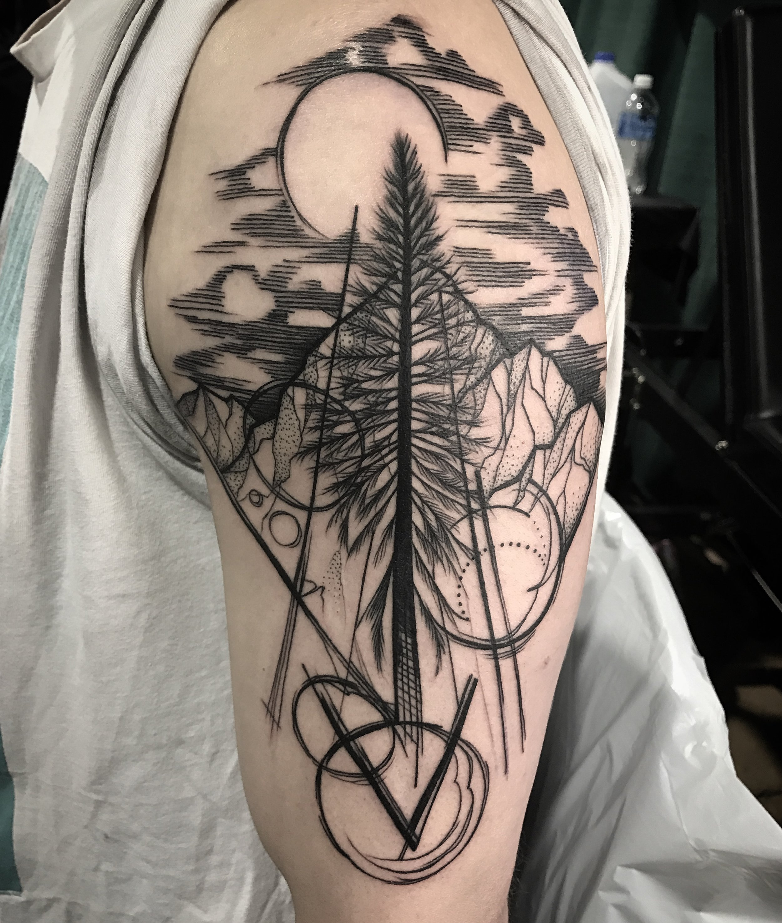 Blackwork Landscape Tattoo by David Mushaney