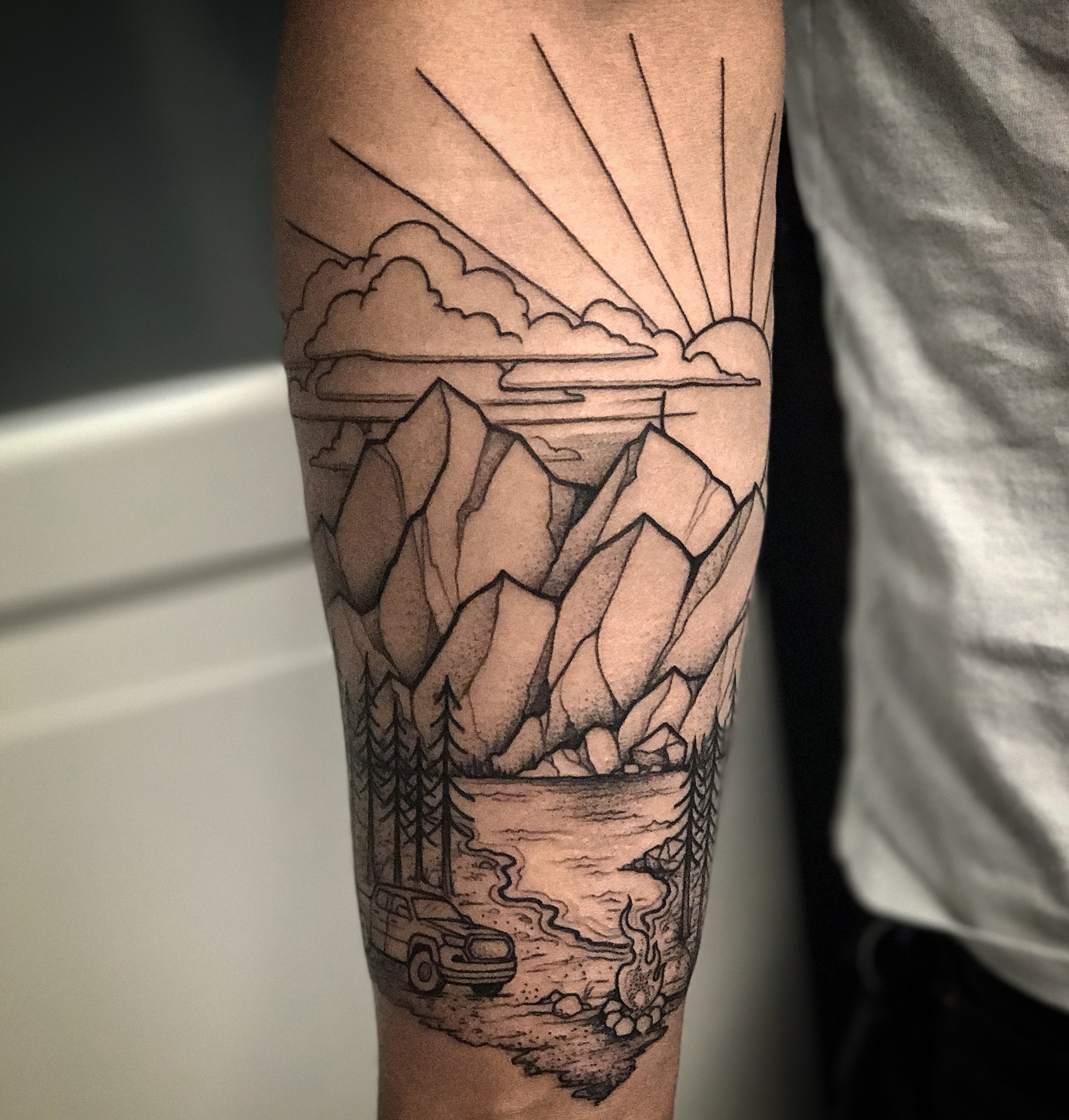 Blackwork Mountain Landscape Nature Tattoo by David Mushaney