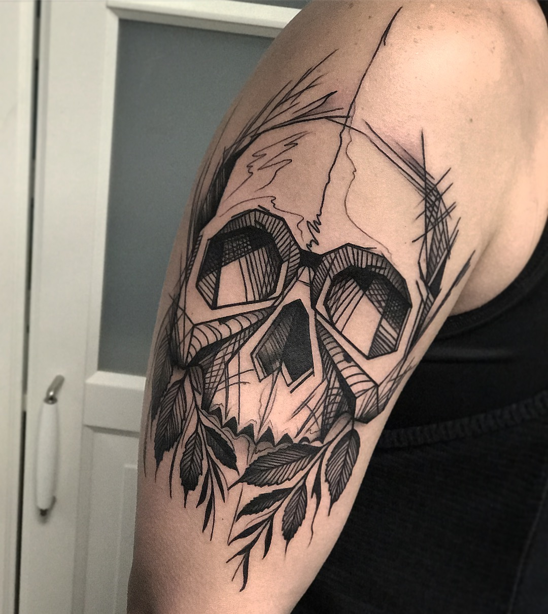 Blackwork Sketchy Skull and Leaves Tattoo by David Mushaney