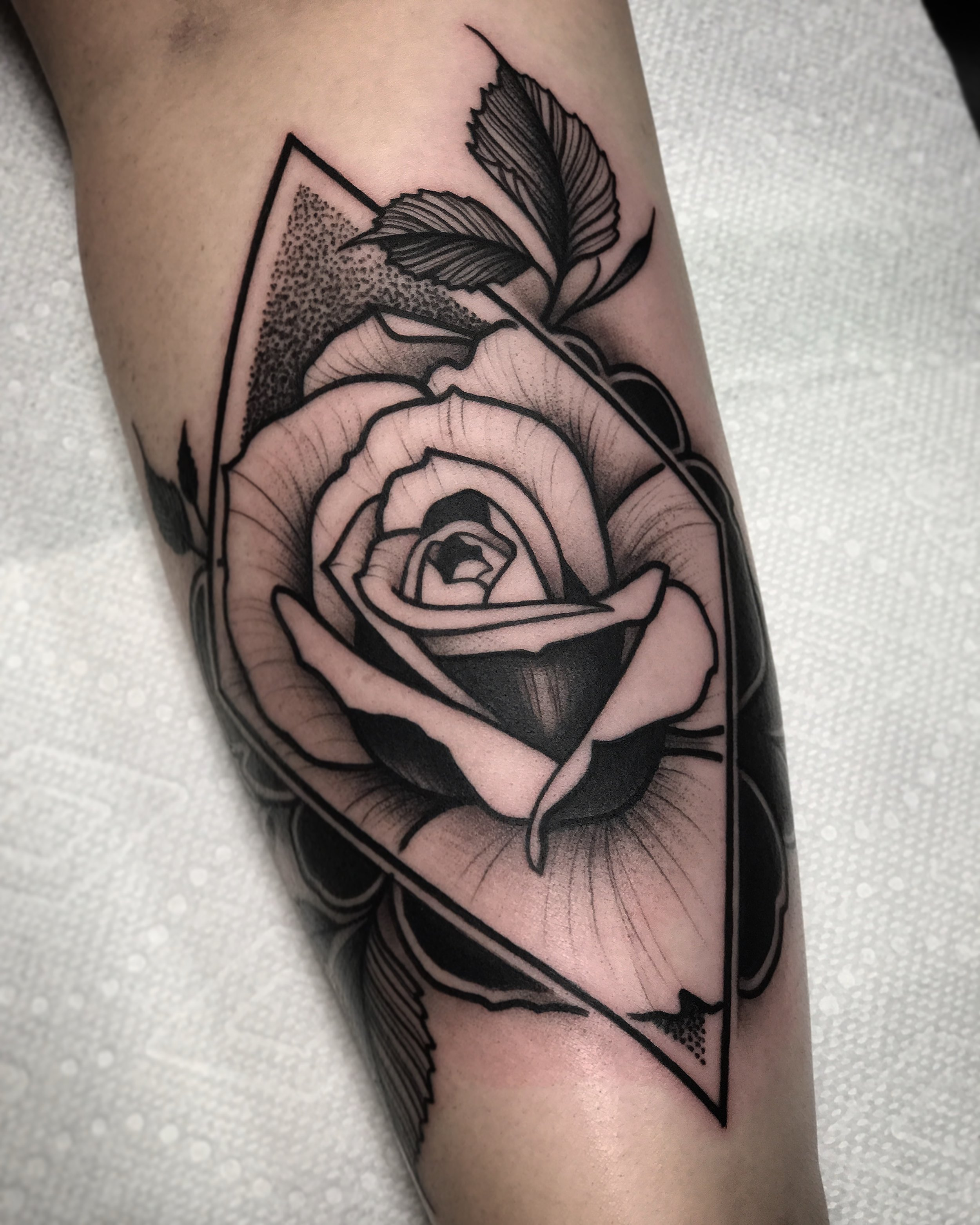 Blackwork Rose / Geometric Diamond Tattoo by David Mushaney