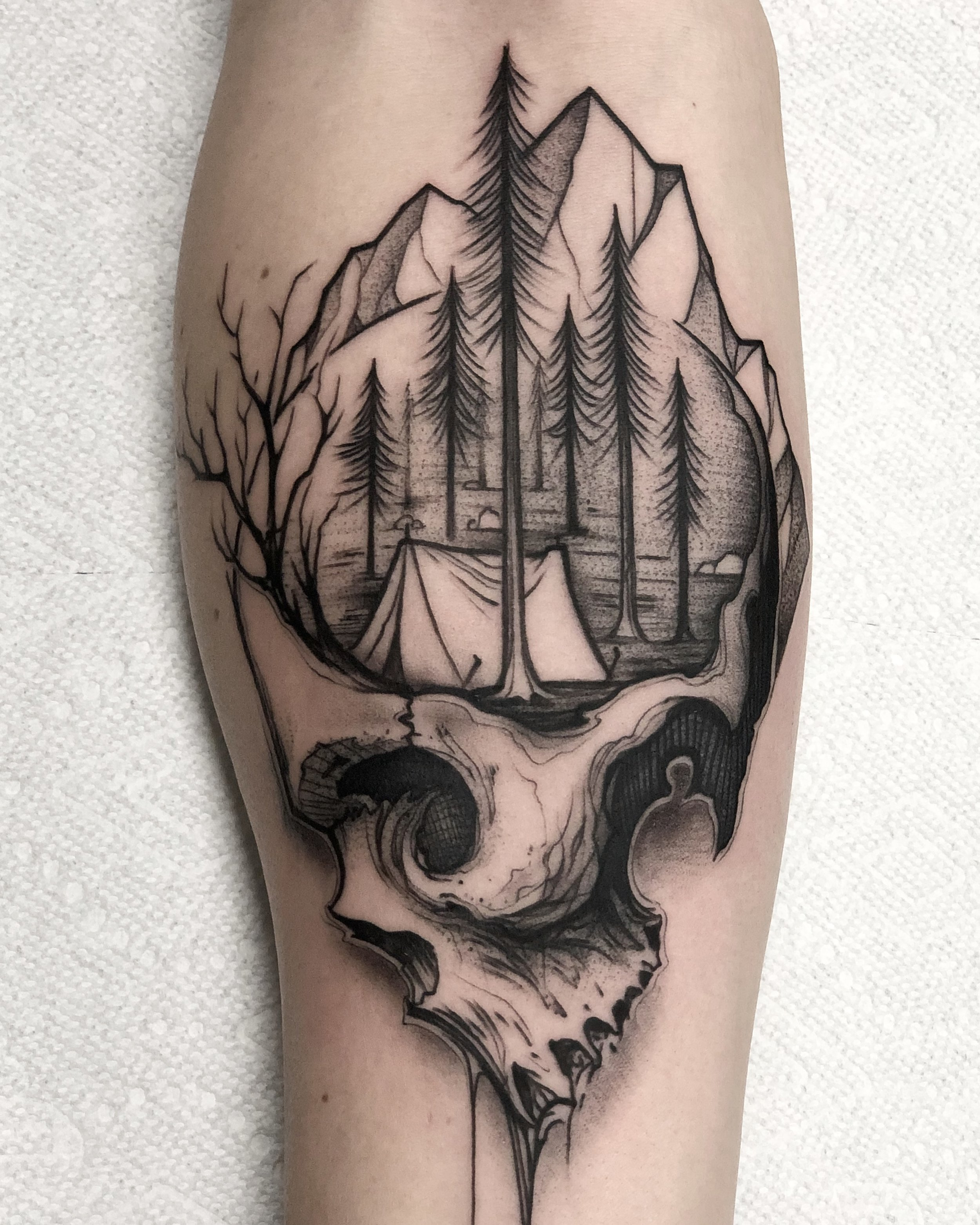 Blackwork Nature Landscape and Skull Tattoo by David Mushaney