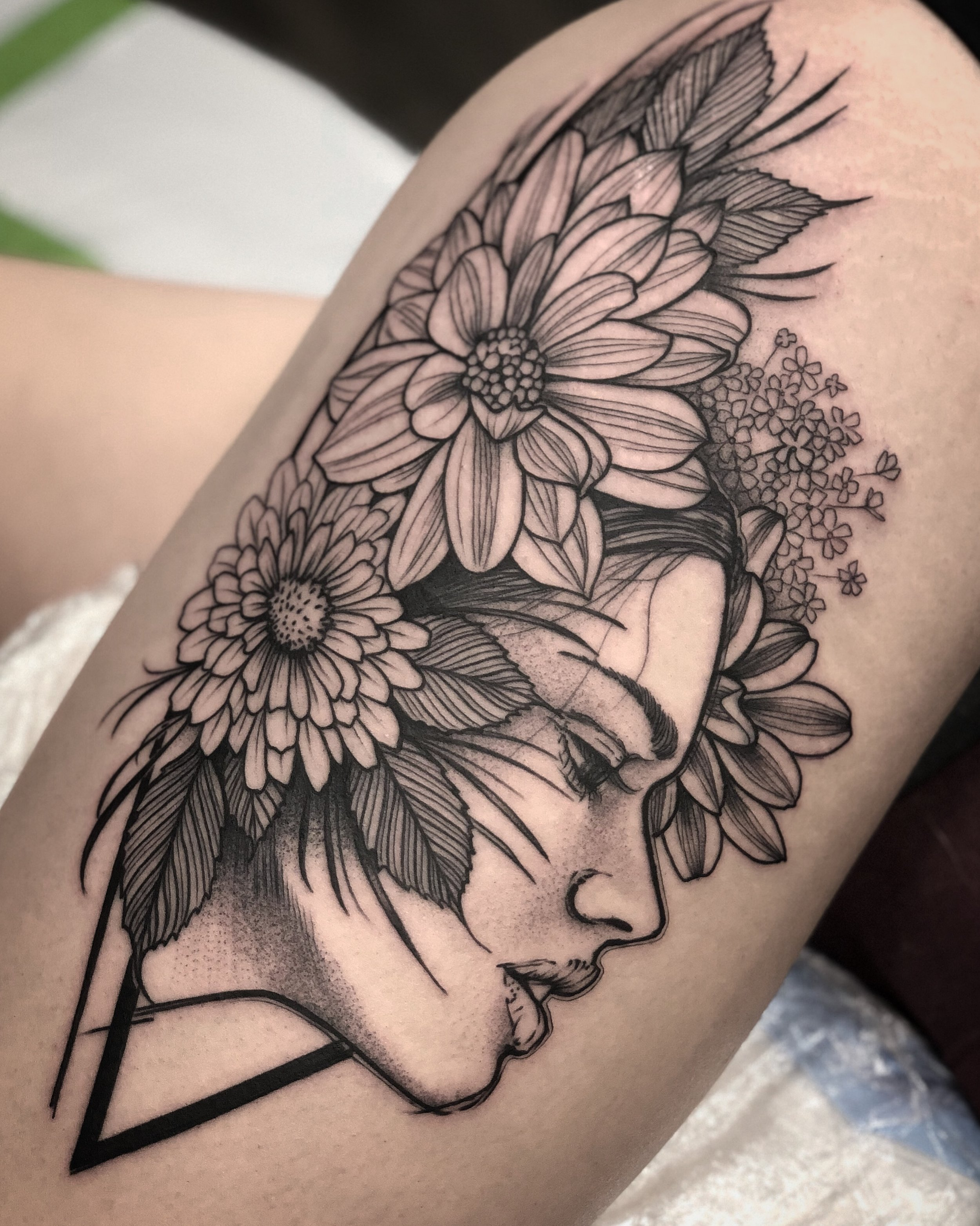 Blackwork Style Portrait and Floral Tattoo by David Mushaney