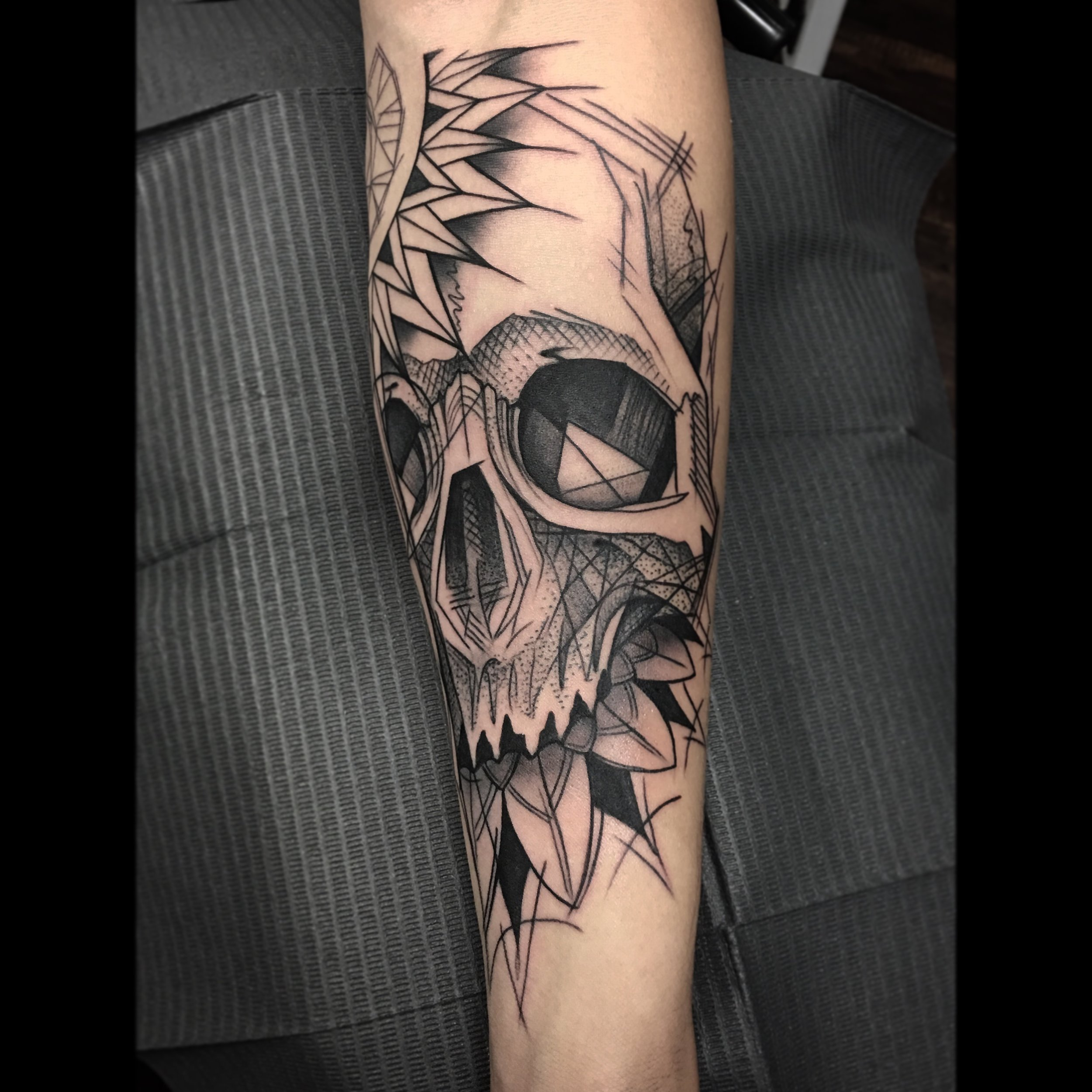 Abstract Blackwork Skull Tattoo by David Mushaney