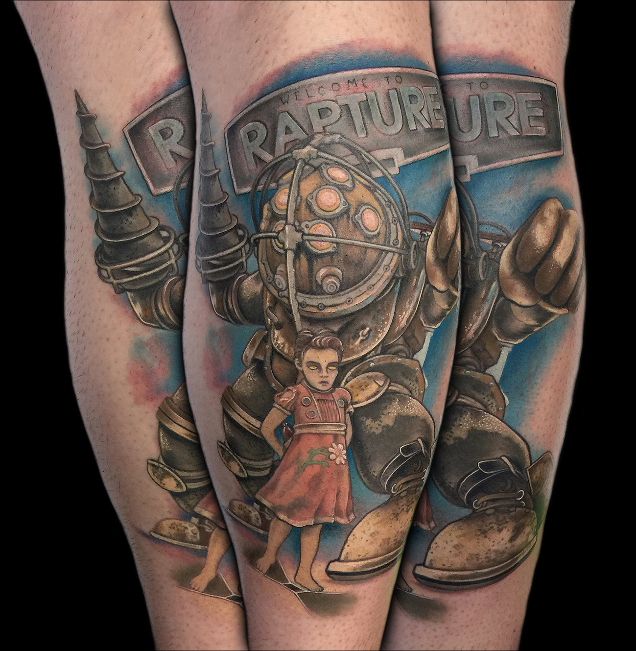 Bioshock Video Game Tattoo by David Mushaney