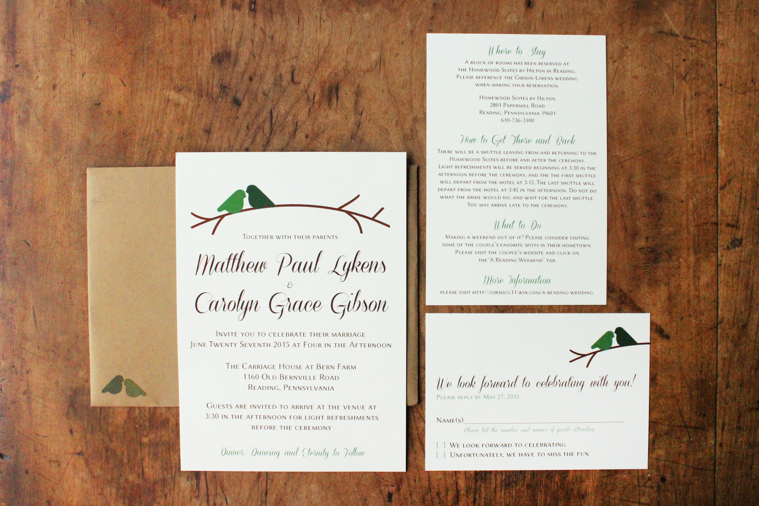 matt & carolyn   invitation suite