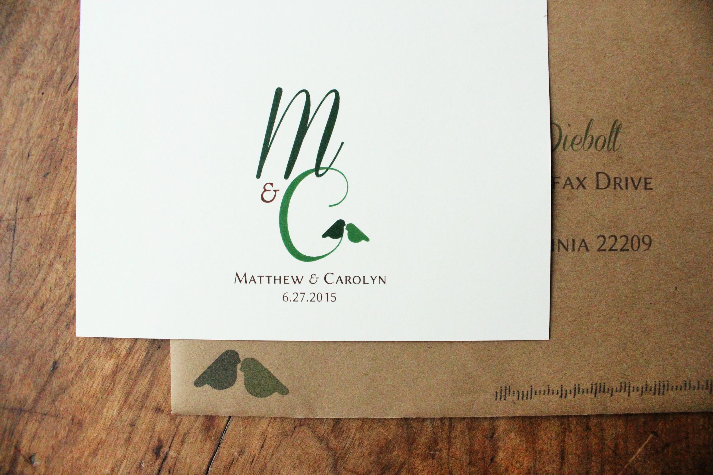 matt & carolyn   logo & addressed envelopes