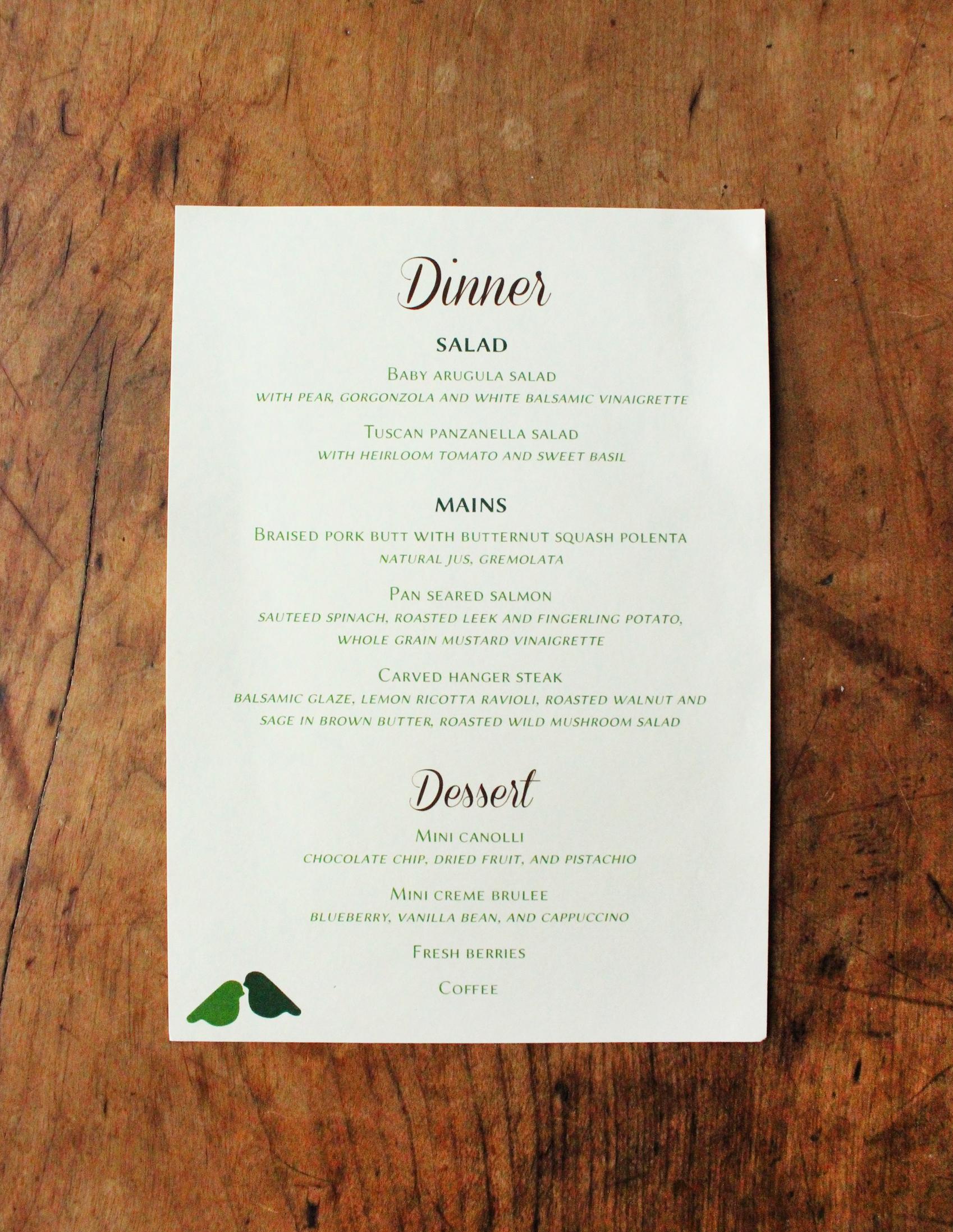 matt & carolyn   reception dinner menu