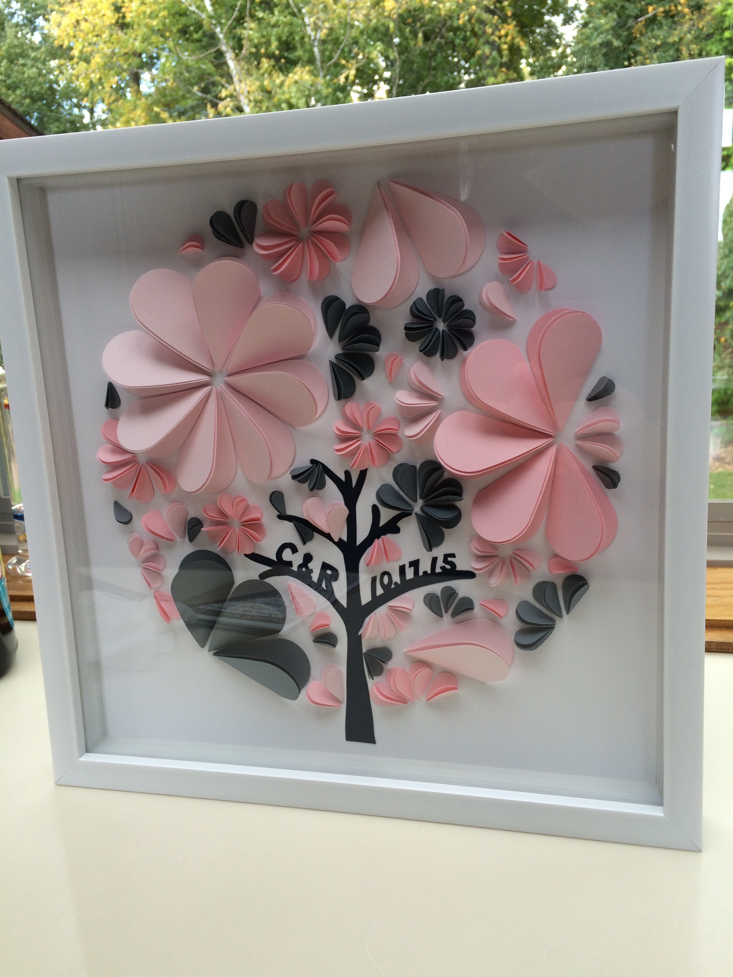 wedding gift   paper on paper in shadowbox frame