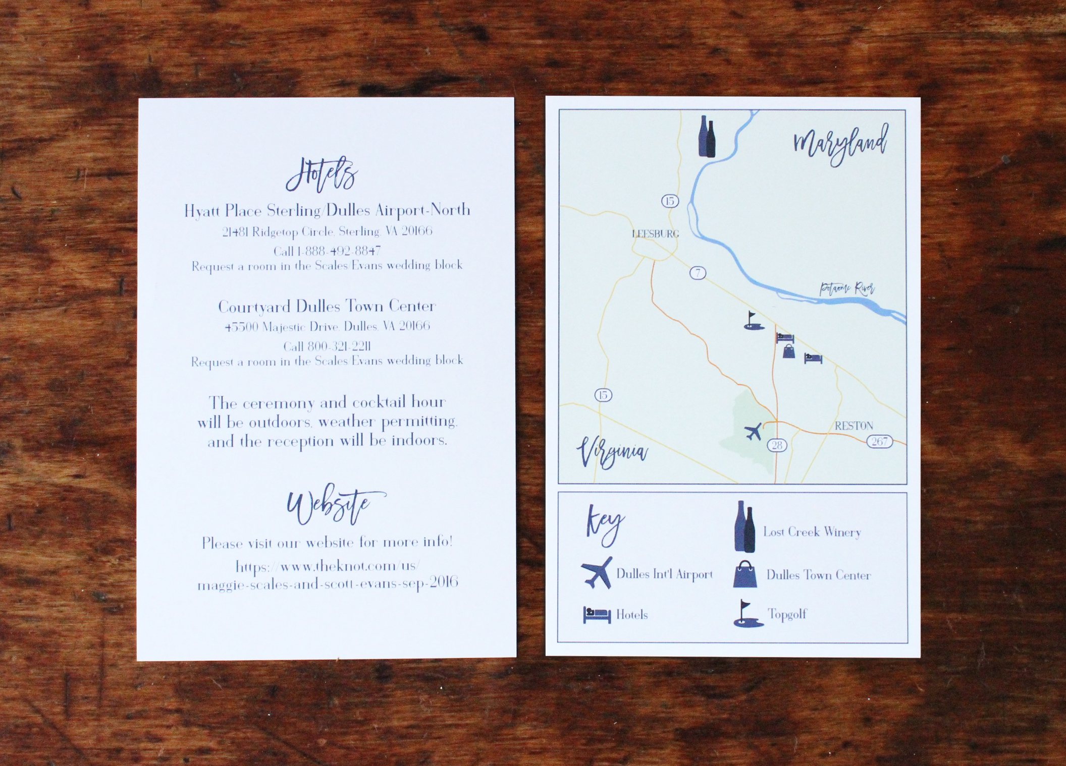 maggie & scott   information card  (including customized map)