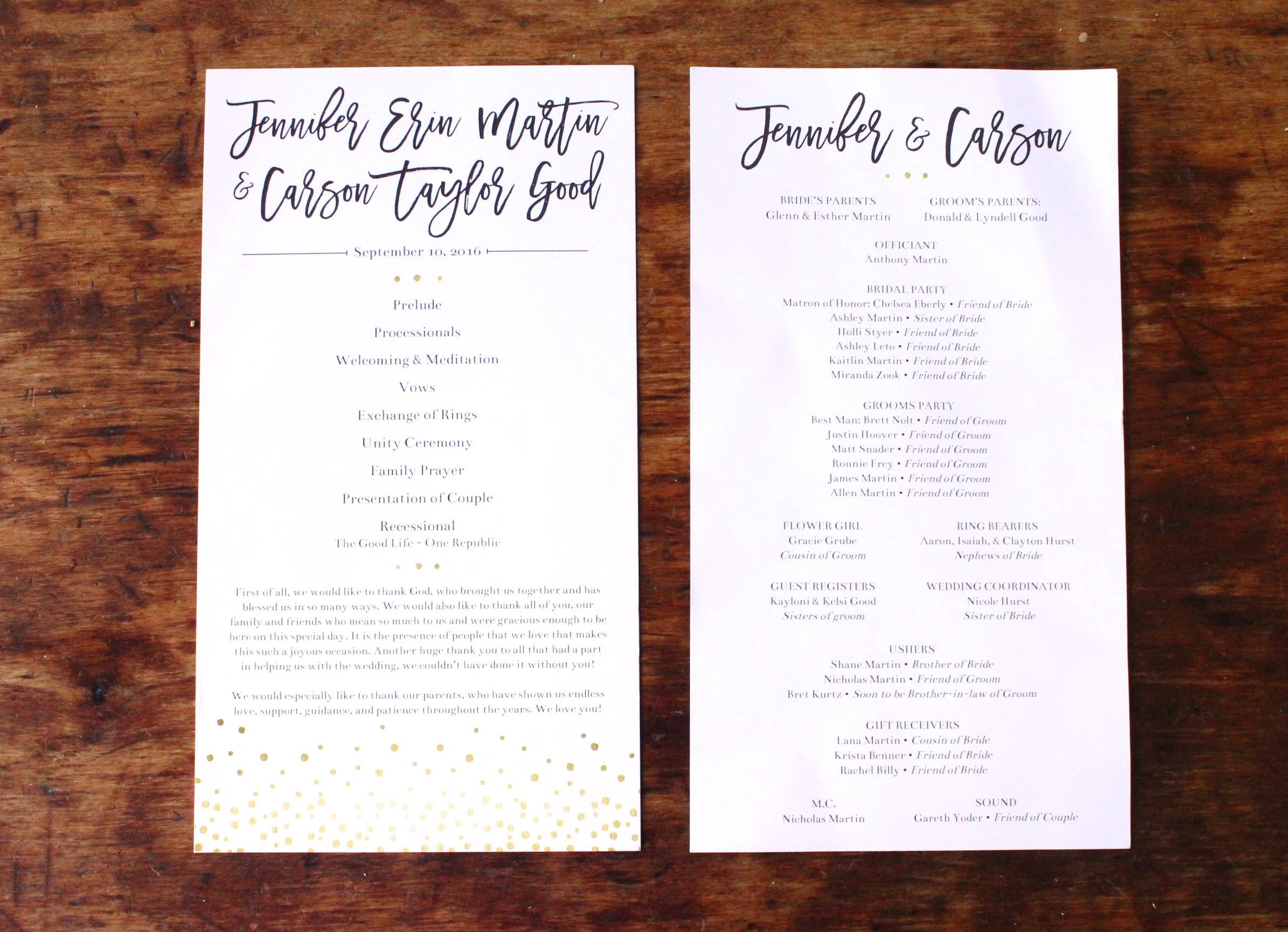jen & carson   program   (front/back)
