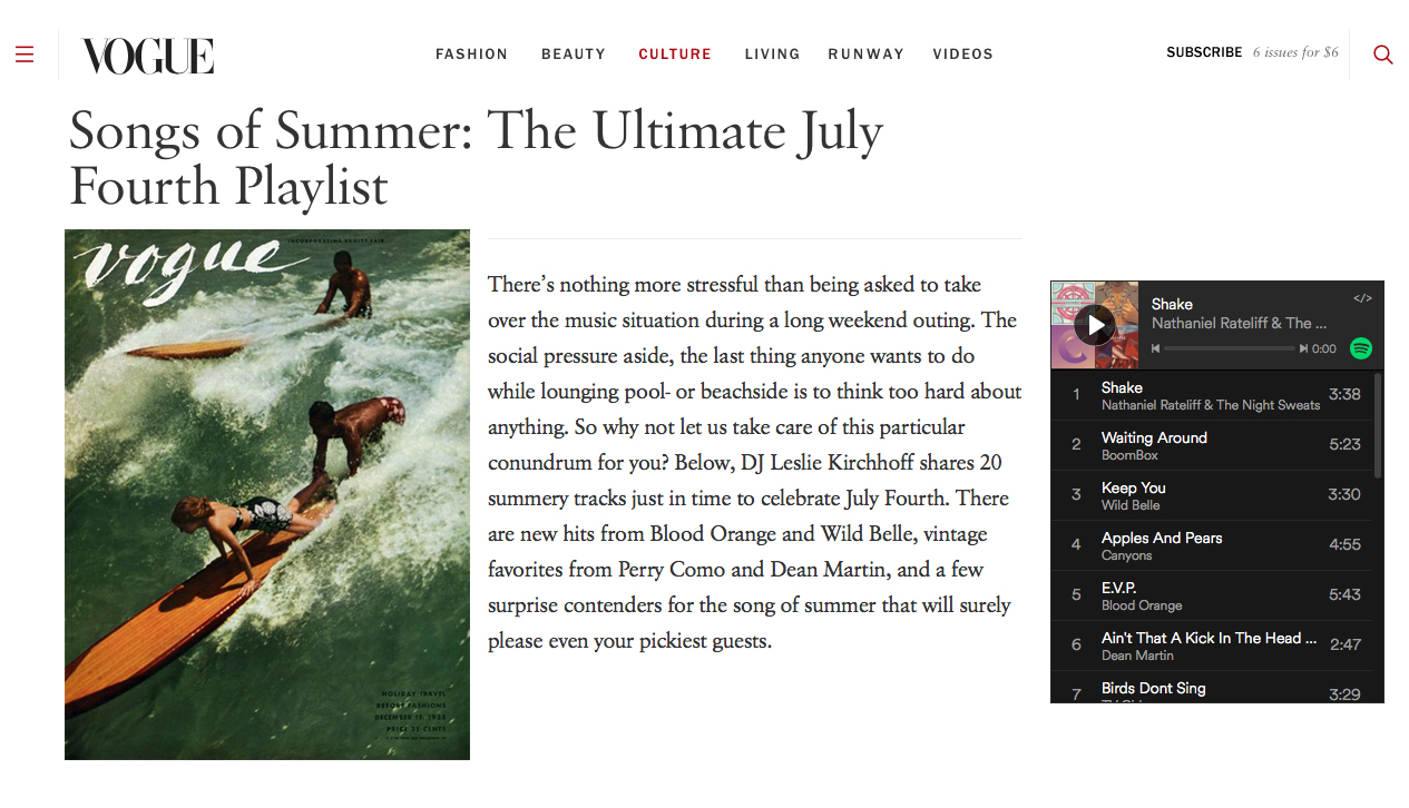 Vogue Songs of Summer Playlist