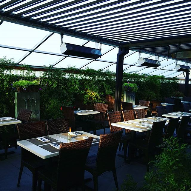 Our garden is open year round! #toscanodraper #outdoordining #fountains #thegardenroom #italianfood
