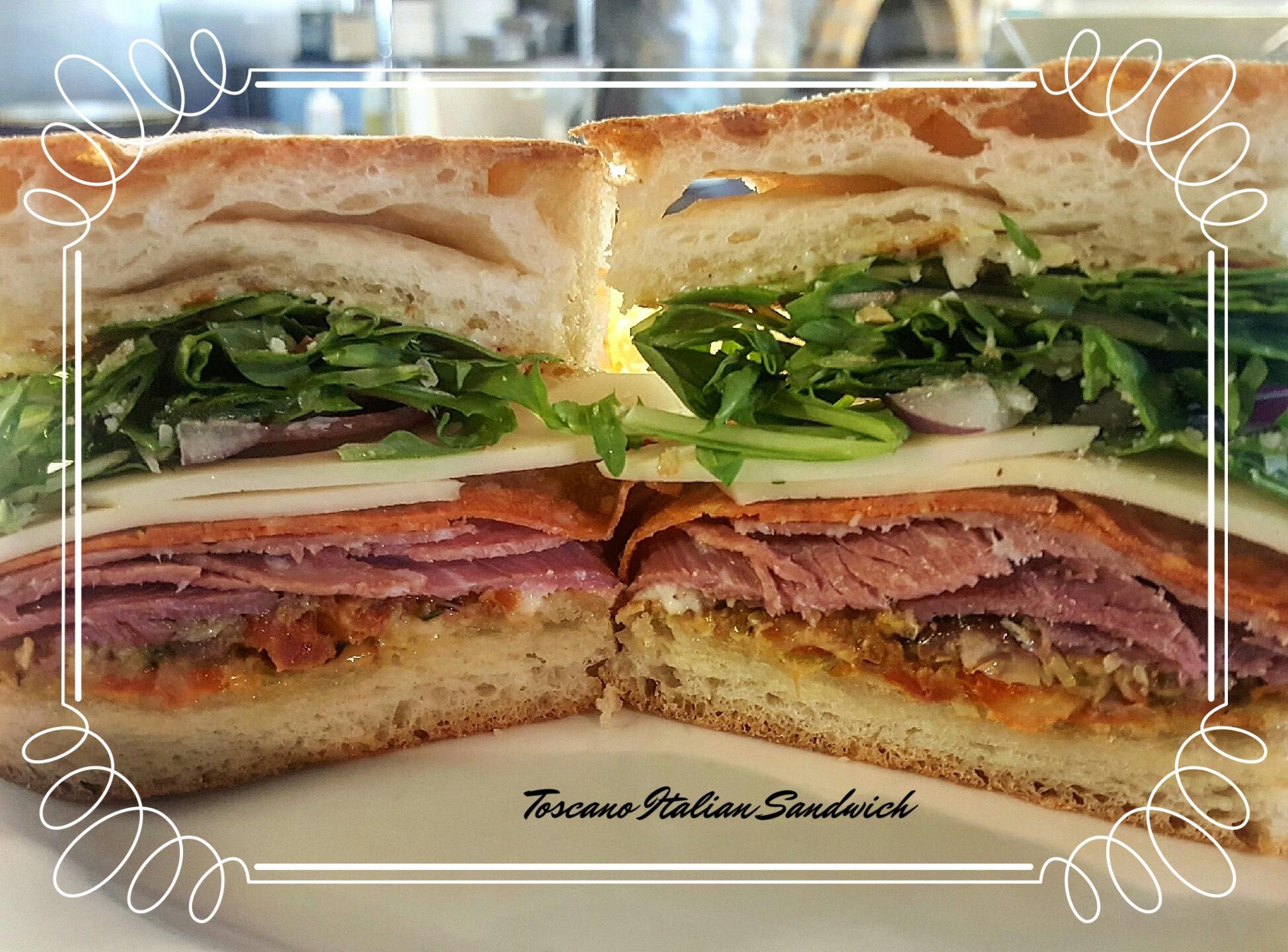 Toscano Italian Sandwich- Salami, Capicola, Pepperoni, Olive Relish, Provolone, Red Onion, Arugula, Garlic Aioli, Pecorino Cheese