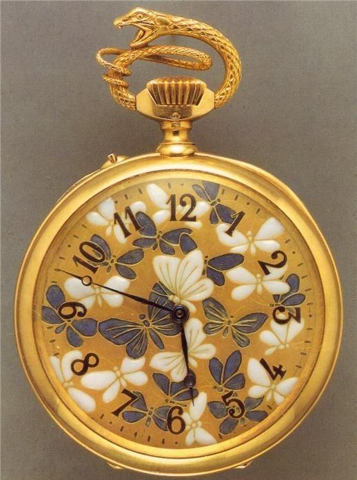 Rene Lalique.  Butterflies and Bats , pocket watch (face), c. 1900