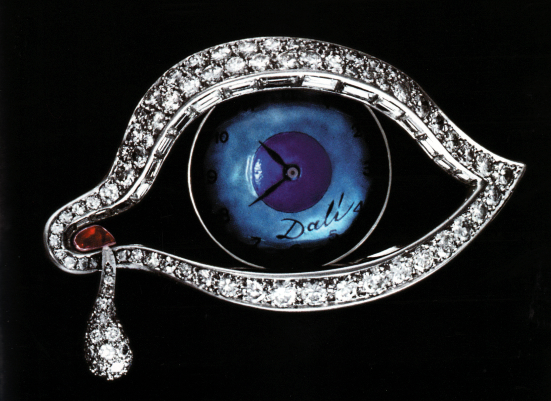 Alemany & Ertman (Design by Salvador Dali).  The Eye of Time , brooch-watch, c. 1949