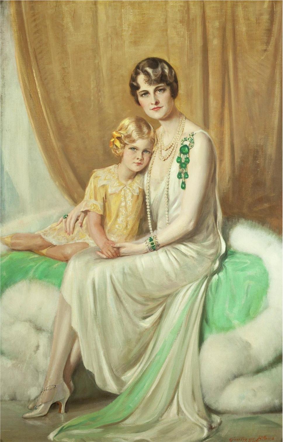 Giulio de Blaas.  Portrait of Mrs. Huttonand Nedenia Hutton  (Marjorie Merriweather Post withher daughter), 1929
