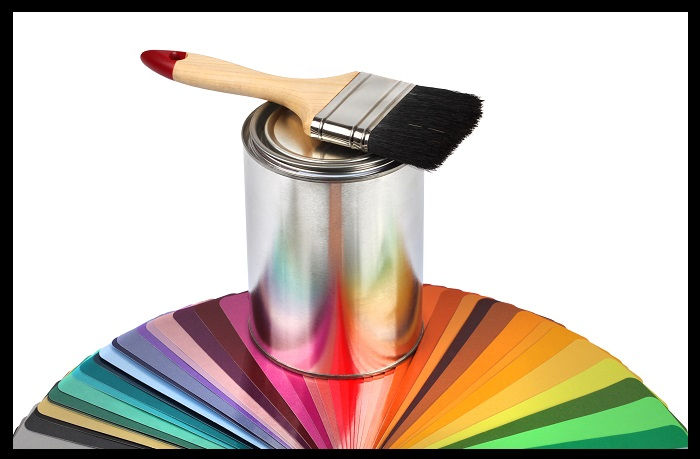 Paint brush and color guide samples