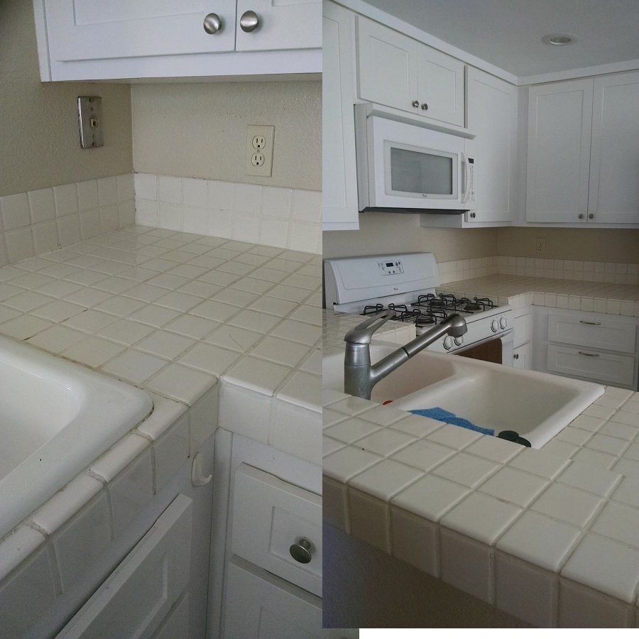 These are some before pictures of my friend Emily's kitchen. She really needed a fix but didn't have a budget right now to support brand new countertops. She asked for help and we employed the technique I'm talking about here.
