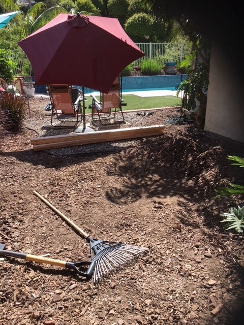 Get rid of any vegetation and level your area with a rake and have your cut boards ready to build your frame.