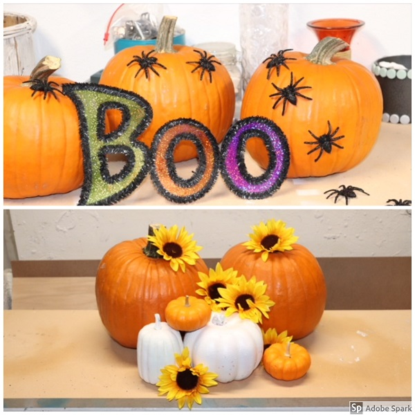 It doesn't get any easier than this! A couple pumpkins spray-painted white, add some fall floral touches or scary spiders and a sign and ta-dah! Centerpiece or front-stoop grouping!