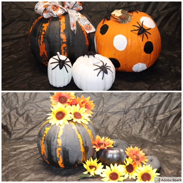 Two more groupings using fall floral on one and more Halloween-themed items on the other! Great for a party or as part of a buffet on Thanksgiving!
