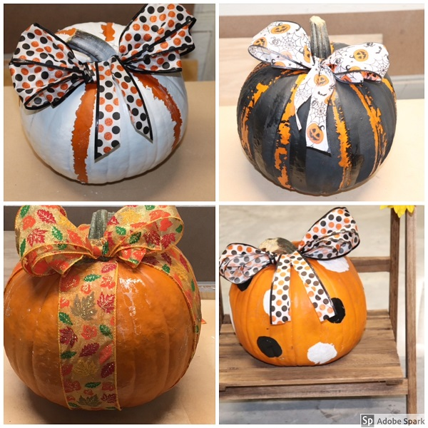 The top two pumpkins were created by painting the whole pumpkin and using a wide standard screwdriver to scrap some of the dried paint away to create the stripes. You could do this for any pattern you like. Finally..simply by choosing great holiday-themed ribbon, you can give your pumpkins many different, fun looks! Again, all my ribbon was purchased at a local dollar store so there is very little cost to these designs!