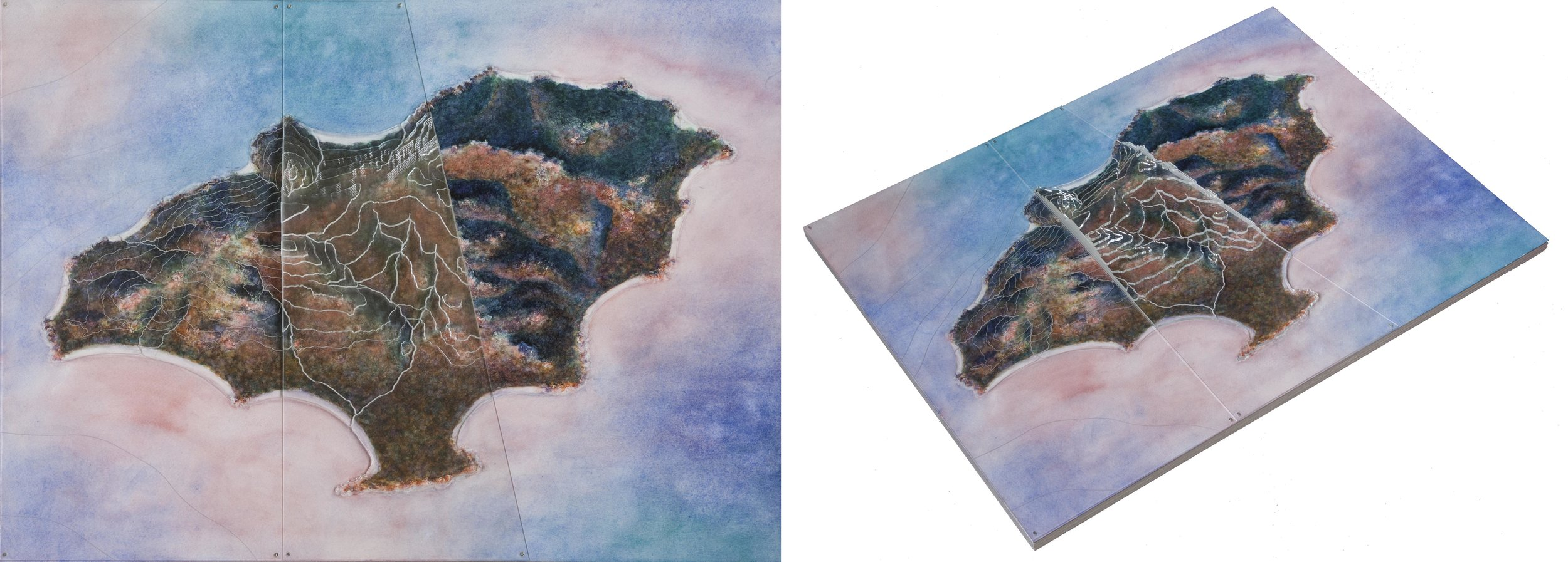 "Bat Island , watercolor on paper with layered plexiglass, 15""x20""x1"". The plexiglass in the center is layered like a topographical model; on the left side it's a single layer etched with waterways and topo lines."