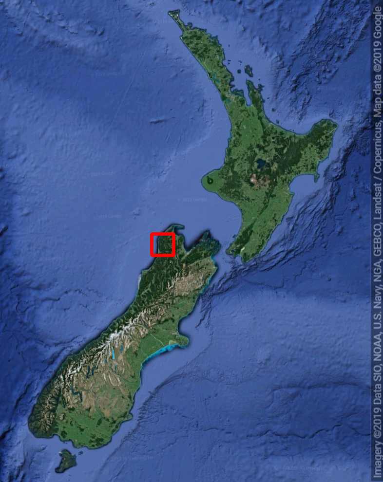 New Zealand with the Heaphy Track location in red.