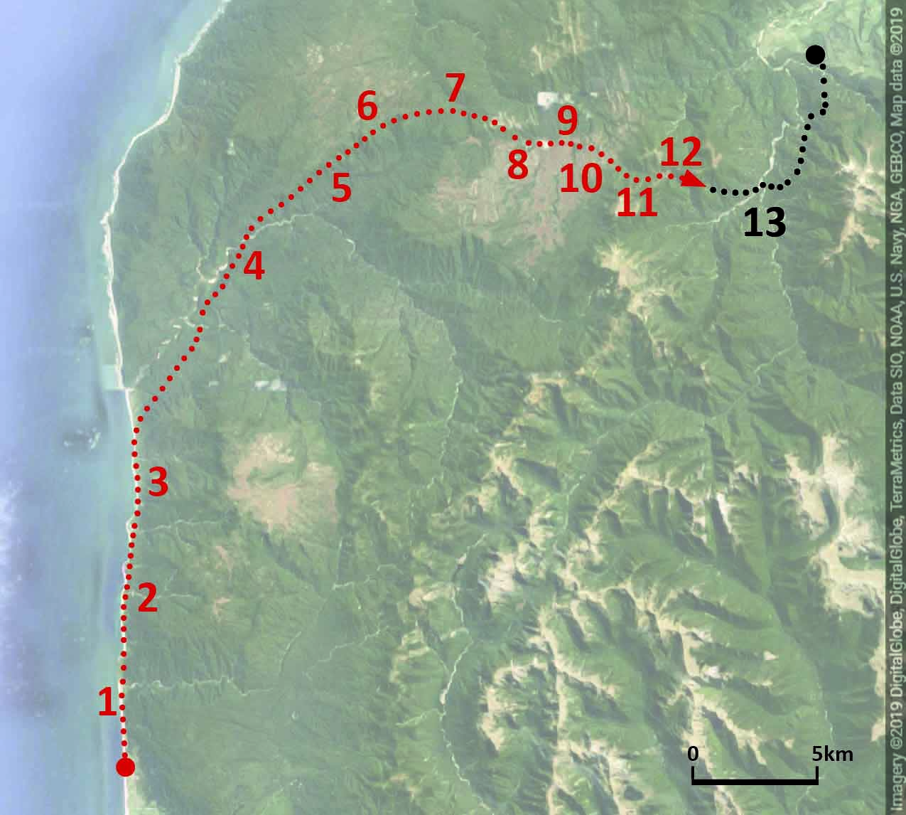 "Northeast corner of the South Island of New Zealand with the ""painted"" portion of the Heaphy Track in red. (The remainder of the trail, mostly the descent on Day 4, is in black.) The numbers correspond to the scenes depicted in  Great Walk  above and in the images below."