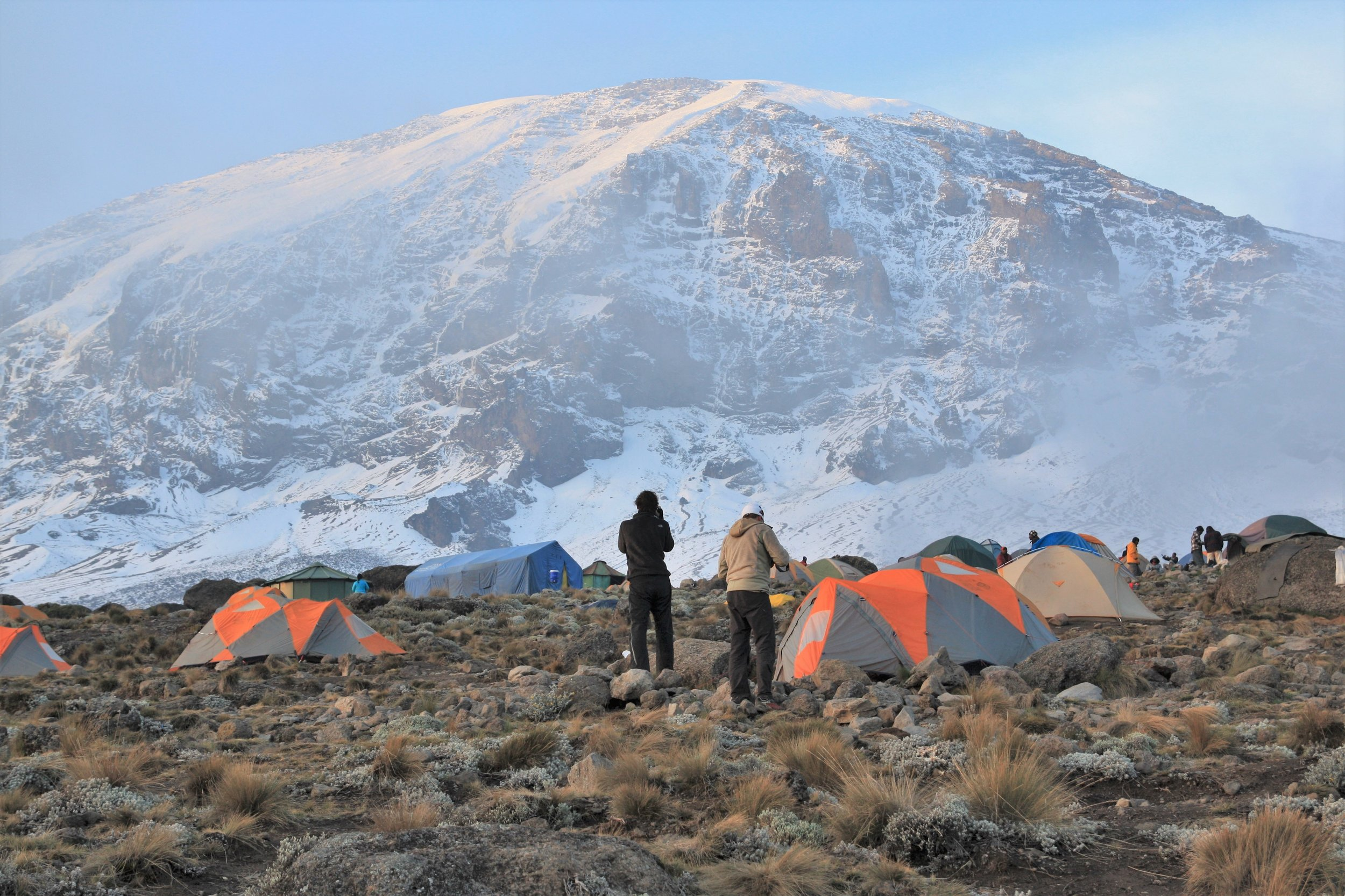 Approaching the summit of Mt. Kilimanjaro. Places like this have stayed essentially free from human impacts until recently, but the glaciers are fast disappearing. How long can the wilderness image survive this (not to mention the hordes of climbers)?