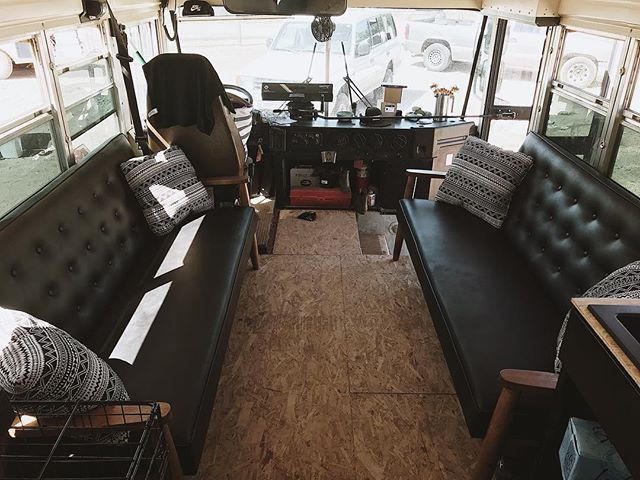 These couches 😍😍. We didn't even have to build something to lift them over the wheel wells and we got a 5yr warranty on them!! I also have a piece of my old bus on them as well.  It's still a hot mess in here but it's getting there little by little! 🖤🚌🖤 . . . . . . #skooliegeek #skoolie #skoolieconversion #tinyhouse #tinyhousemovemenet #homeiswhereyouparkit #busliving #buslifestyle #buslife #buslifeadventure #buslifemovement #glampimg #camplife #adventuremobile #thatsdarling #livefree #wildandfree #liveauthentic #nomad #nomadic #nomadiclife #NomadicMillers #buswife #buskids #adventureawaits #livingsmall #therollinghome #neverstopexploring #projectvanlife #gorving