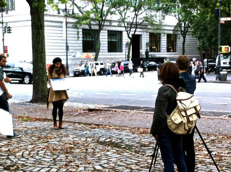 Melis shooting for a pro-Obama info-mercial, 2012 pre-elections, New York.