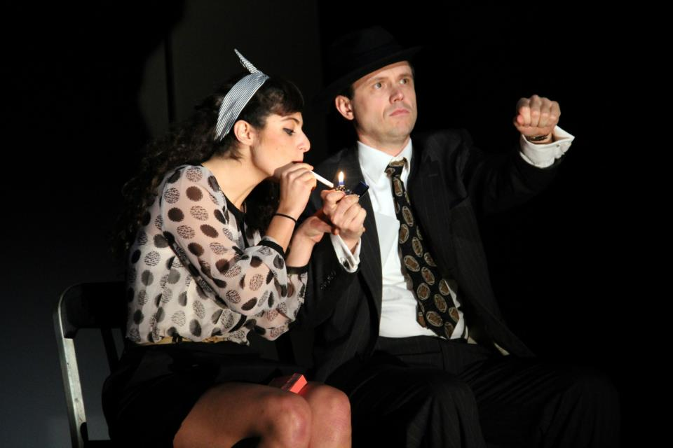 """""""Double Indemnity"""" (Stoneham Theatre, Boston) Directed by Weylin Symes  Lola (Melis Aker) and Walter Huff (Lewis D. Wheeler)"""