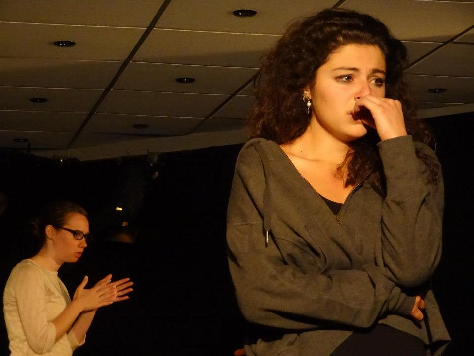 """""""Proof"""" (2012 Edinburgh Fringe Festival) Directed by John-Michael Sequeira and Lindsay Carpenter  Claire (Kira Patterson) and Catherine (Melis Aker)"""