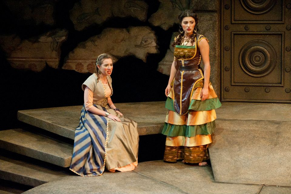 """""""Oedipus and Antigone"""" (Tufts University Main Stage, Boston) Directed by Downing Cless  Ismene (Kira Patterson) and Antigone (Melis Aker)"""