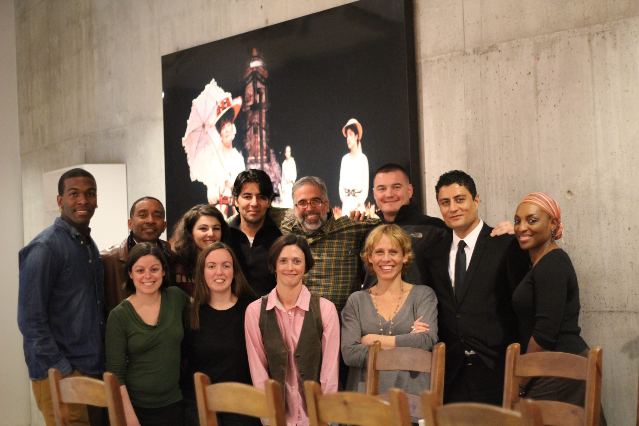 """Behind the scenes at Arena Stage, the cast and crew of """"Love in Afghanistan"""" with ex U.S. soldier Matt Zeller and Afghan interpreter Janis Shinwari."""