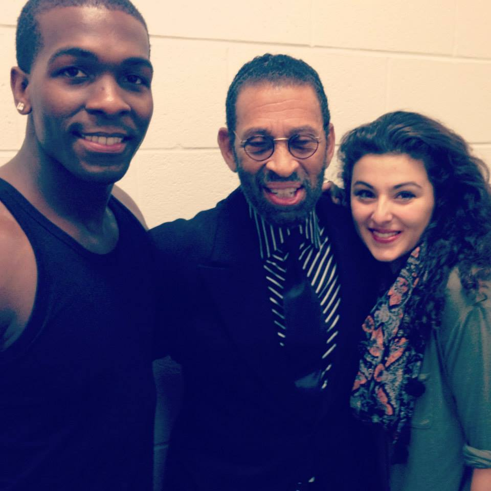 """Intermission for """"Love in Afghanistan"""" at Arena Stage.  Khris Davis (Duke), Maurice Hines, and Melis Aker (Roya)"""