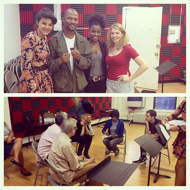 """Behind the scenes for the Ma-Yi Theatre Company's reading of  """"Soldier X""""  by Rehana Mirza. Directed by Lucie Tiberghien  Melis Aker (Amani), Calvin Dutton (Jay),Kaliswa Brewster (Monica), and Andrea Syglowski (Lori)"""