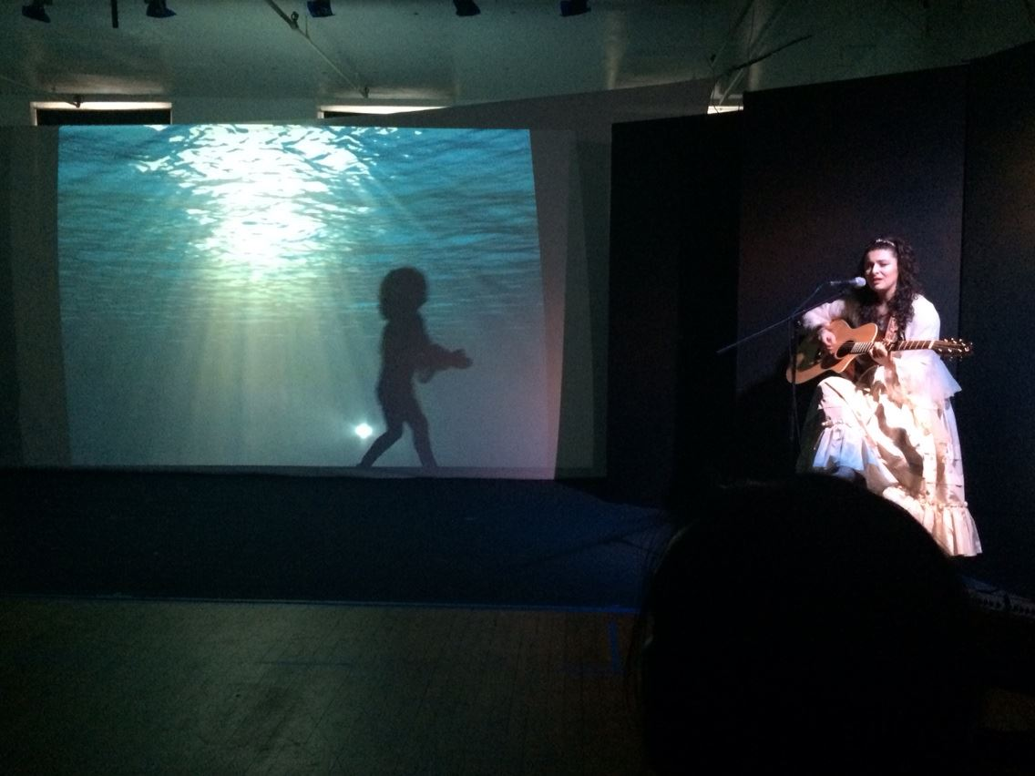 """""""The Little Black Fish"""" (Access Theatre, New York) Directed by Mohammed Aghebati  The Moon (Melis Aker) *Melis was the composer/co-composer for the tracks used throughout the performance."""