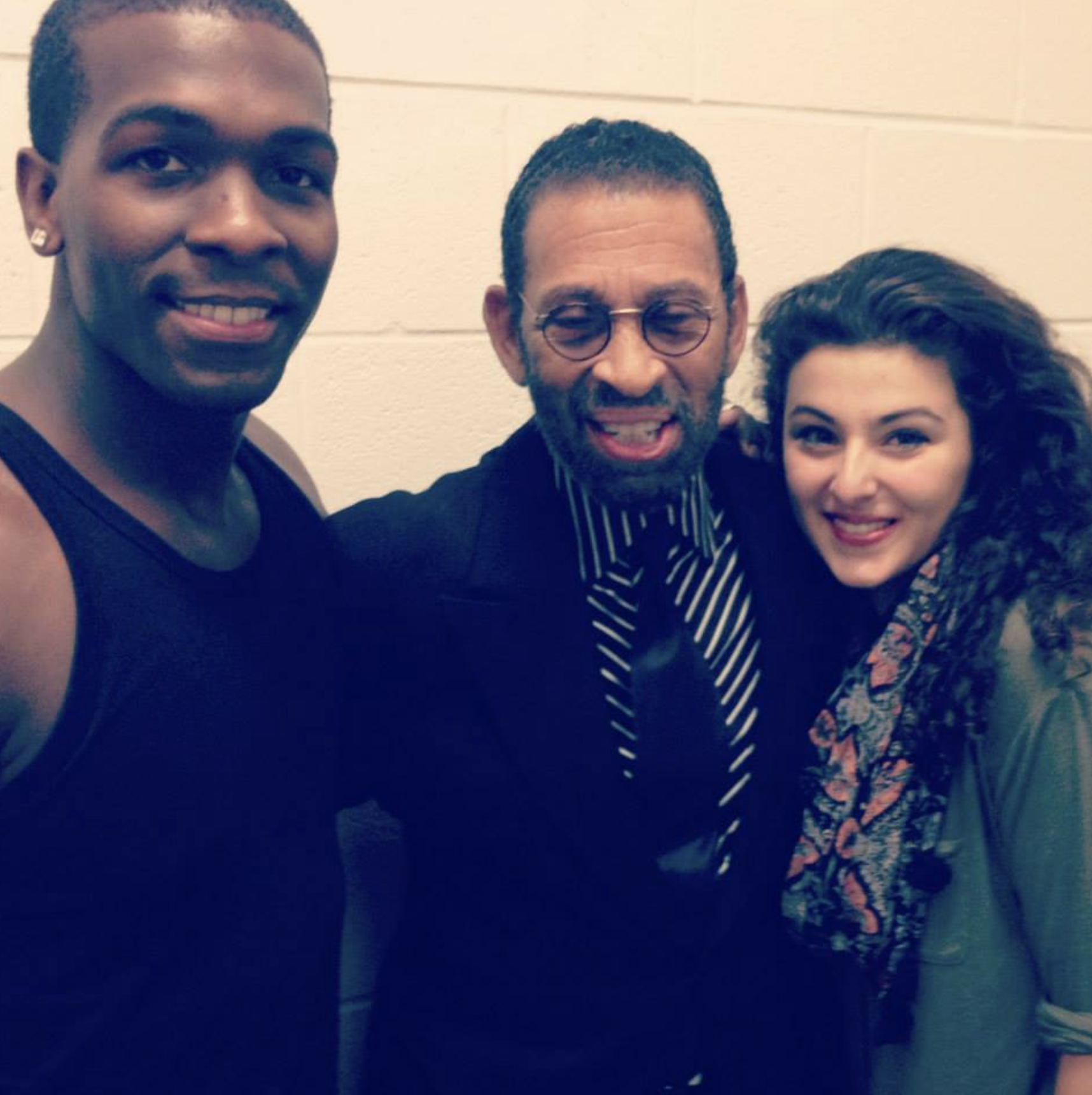 "Khris Davis, Maurice Hines and Melis Aker backstage during Arena Stage's ""Love in Afghanistan"""
