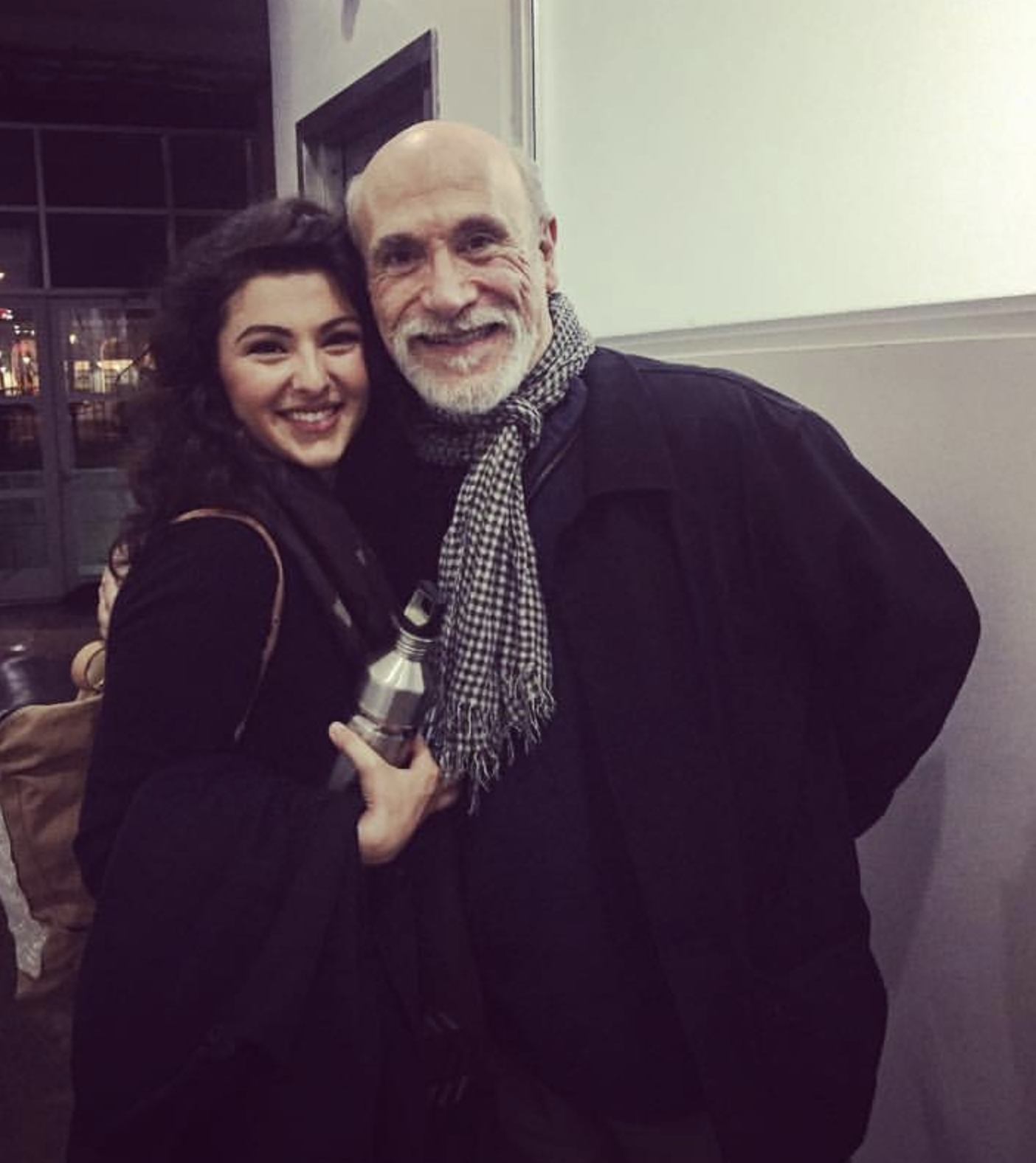 "Melis Aker and Tony Amendola on set during ""The Blacklist: Redemption"""