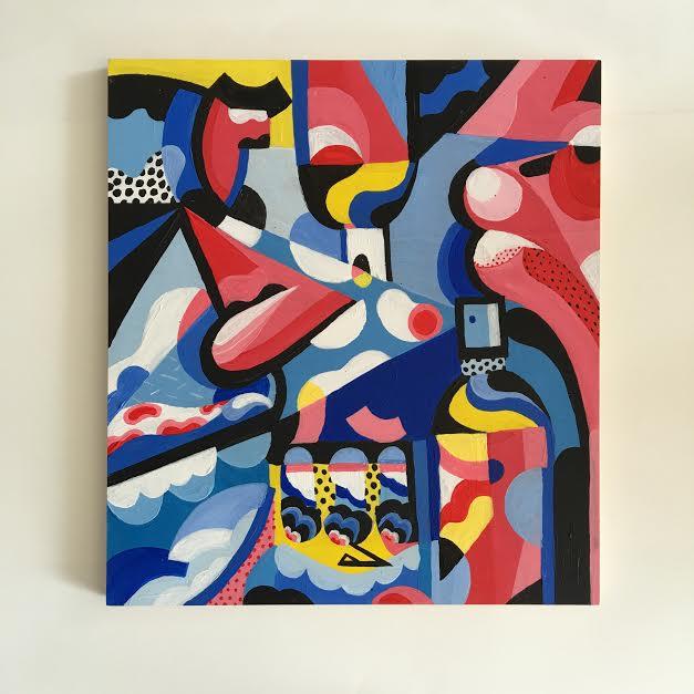 'Culturally conscious rap sprays' 45 x55 cm acrylic on mounted wood pane. 2015